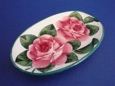 Wemyss Ware 'Cabbage Roses' Oval Pin Tray c1900